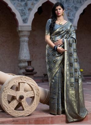 Weaving Party Contemporary Grey Saree