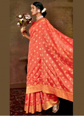 Weaving Party Designer Pink Traditional Saree