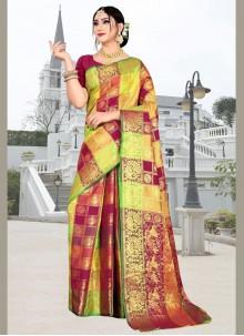 Multi Colour Weaving Party Silk Saree