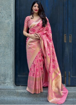 Pink Weaving Party Traditional Designer Saree