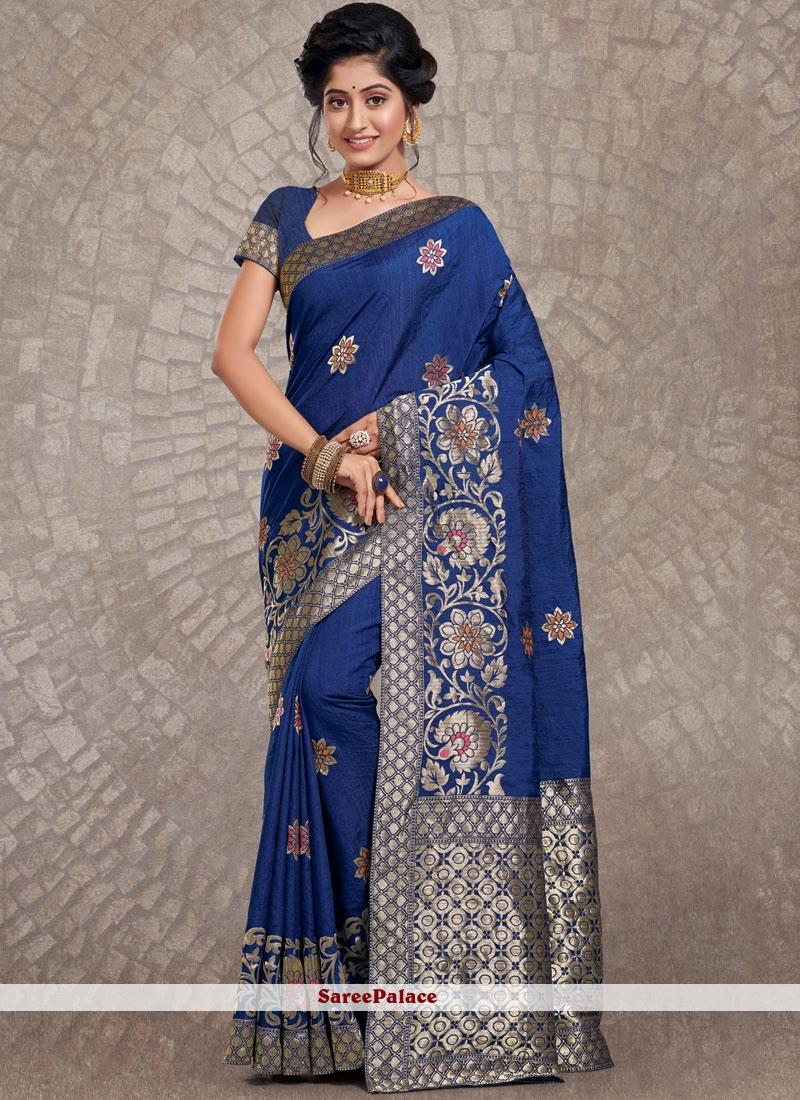 Blue Weaving Party Traditional Designer Saree