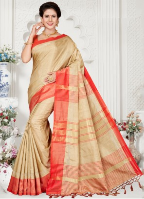 Weaving Party Traditional Cream Saree