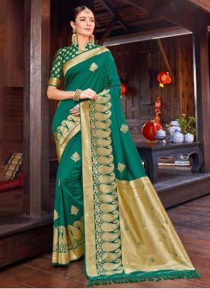 Weaving Party Green Trendy Saree