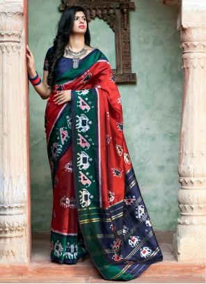 Weaving Patola Silk Red Contemporary Saree