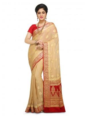 Weaving Peach Art Banarasi Silk Designer Traditional Saree