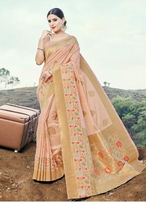 Weaving Peach Classic Saree