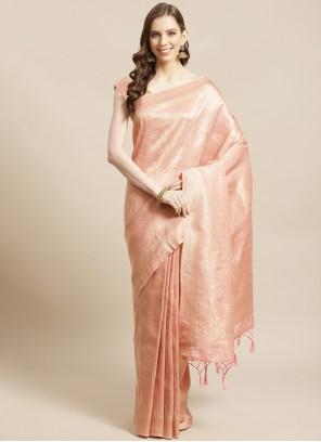 Weaving Peach Traditional Designer Saree