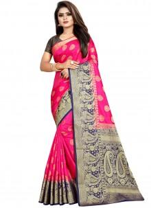 Weaving Pink Art Banarasi Silk Designer Traditional Saree