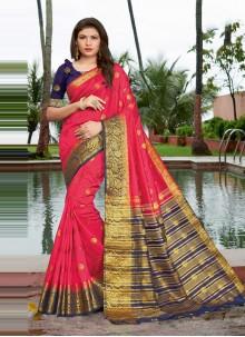 Weaving Pink Art Silk Designer Traditional Saree