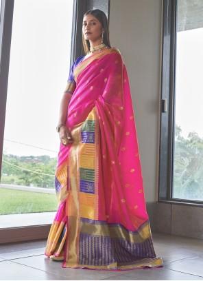 Weaving Pink Art Silk Traditional Saree