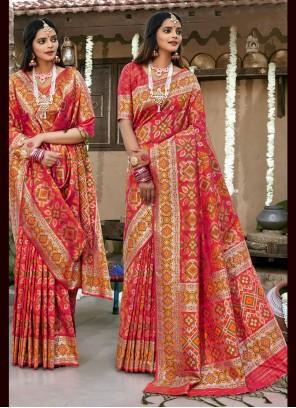 Weaving Pink Banarasi Silk Contemporary Saree