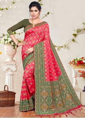 Weaving Pink Banarasi Silk Traditional Designer Saree