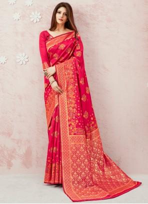 Weaving Pink Contemporary Saree