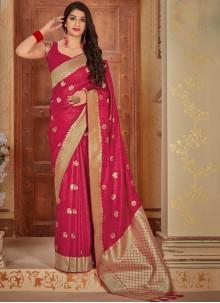 Weaving Pink Satin Classic Designer Saree