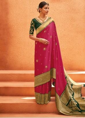 Weaving Pink Silk Bollywood Saree
