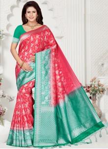 Weaving Pink Silk Contemporary Saree