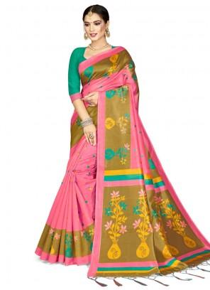 Weaving Pink Silk Designer Saree