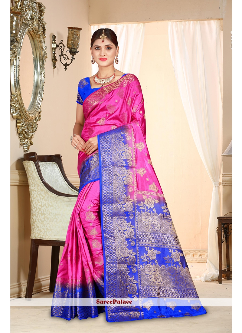 Weaving Pink Traditional  Saree