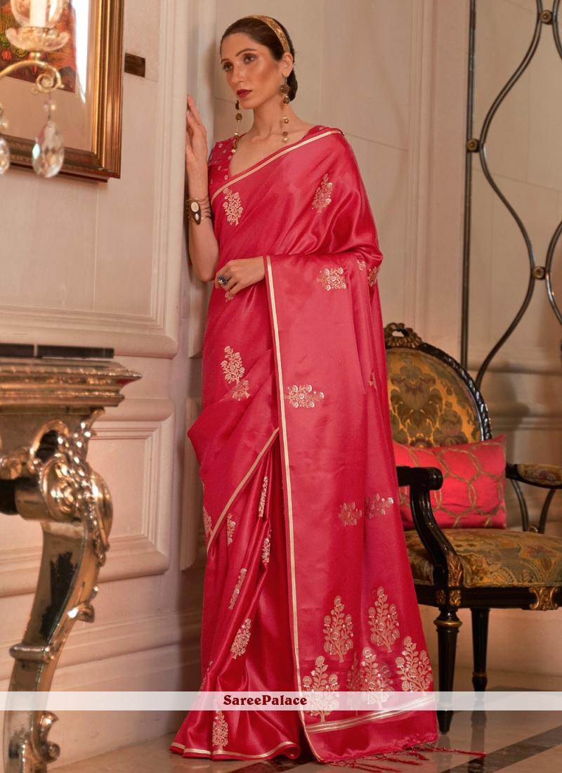 Weaving Zari Work Pink Satin Trendy Saree