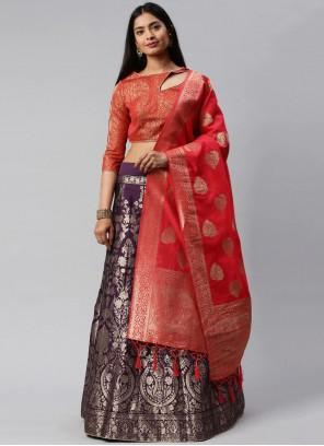 Weaving Purple and Red Banarasi Silk Lehenga Choli
