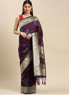 Weaving Purple Banarasi Silk Designer Traditional Saree