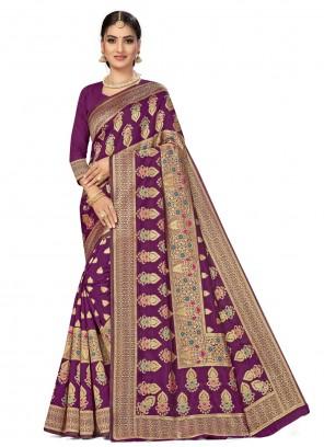 Weaving Purple Banarasi Silk Traditional Designer Saree