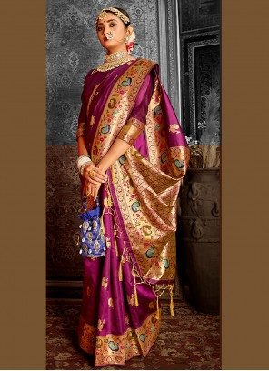 Weaving Purple Banarasi Silk Traditional Saree