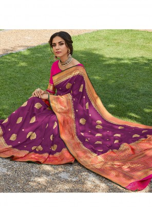 Weaving Purple Classic Saree