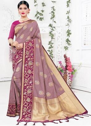 Weaving Purple Designer Saree