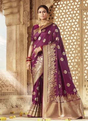Weaving Purple Designer Traditional Saree