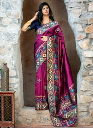 Weaving Purple Patola Silk  Trendy Saree