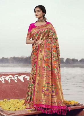 Weaving Rani Banarasi Silk Designer Traditional Saree