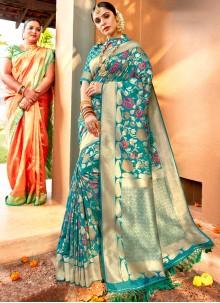 Blue Weaving Reception Classic Saree