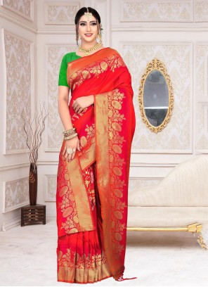 Red Weaving Reception Classic Saree