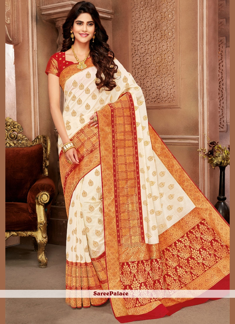 a74e94f21b0e7 Buy Weaving Red and White Art Silk Traditional Designer Saree Online