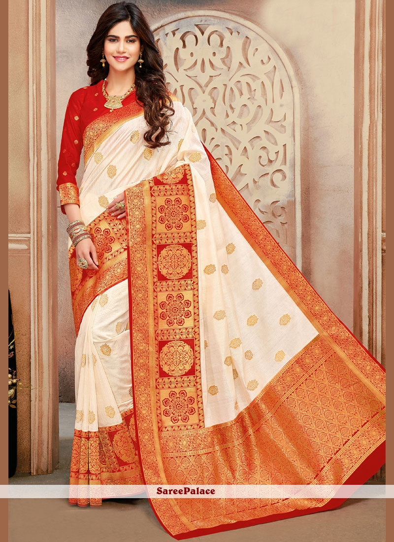 dbf9e018008b3 Buy Weaving Red and White Designer Traditional Saree Online