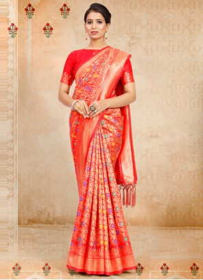 Weaving Red Art Silk Designer Traditional Saree