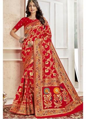 Weaving Red Art Silk Saree