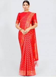 Weaving Red Art Silk Traditional Saree