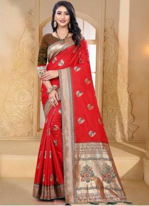 Weaving Red Banarasi Silk Designer Traditional Saree