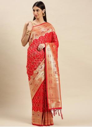 Weaving Red Banarasi Silk Traditional Designer Saree