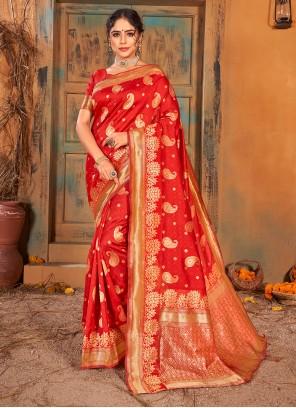 Weaving Zari Work Red Classic Saree