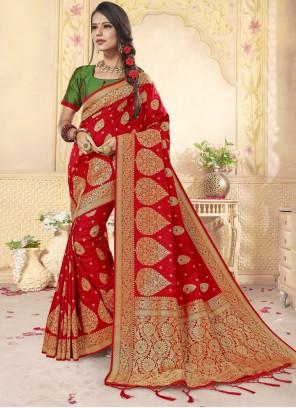 Weaving Red Designer Saree