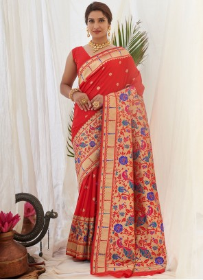 Weaving Red Designer Traditional Saree