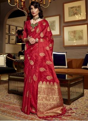 Weaving Red Satin Silk Traditional Saree