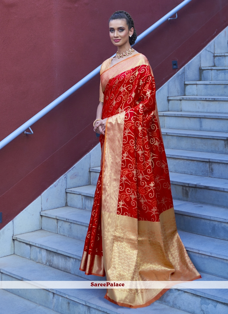 Weaving Red Traditional Designer Saree