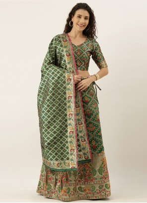 Green Weaving Sangeet Lehenga Choli