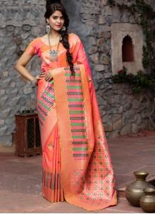 Weaving Sangeet Pink Traditional Designer Saree