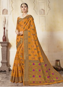 Mustard Weaving Zari Art Silk Saree