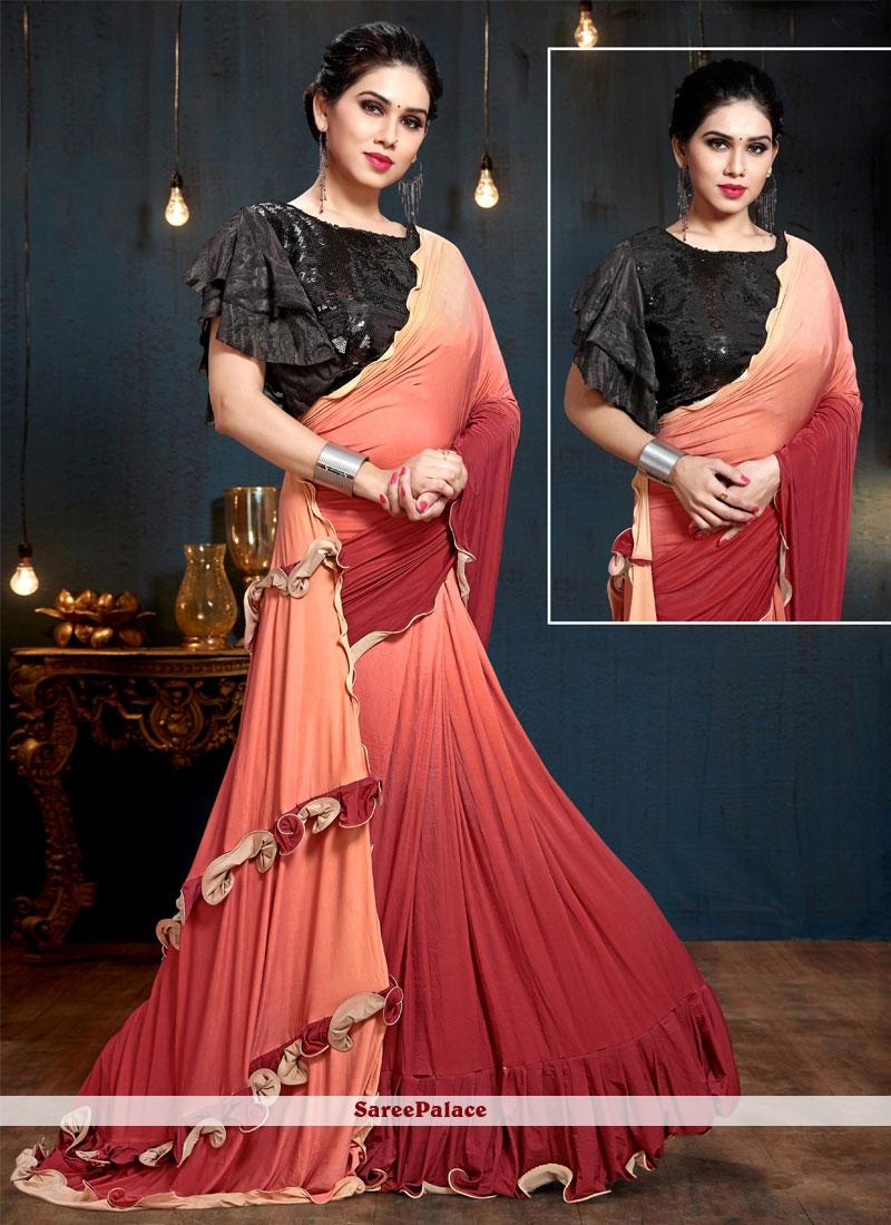 Weaving Satin Silk Trendy Saree in Multi Colour